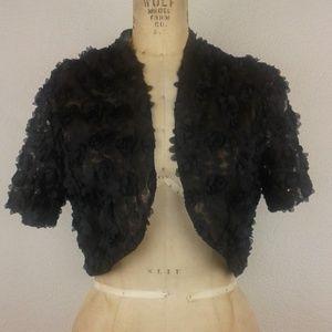 Chetta B l Black Mesh Roses Cropped Bolero Jacket